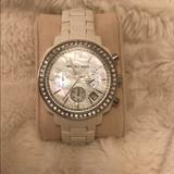 Michael Kors Jewelry   Michael Kors Chronograph White Acrylic Watch   Color: White   Size: Os