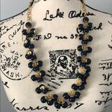 J. Crew Jewelry | J. Crew Enamel Bead Clusters Necklace | Color: Blue/Gold | Size: 26 Inches