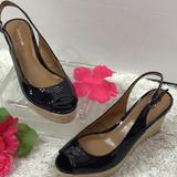 Coach Shoes   Coach Black Patent Platform Wedge Sling Back 7b   Color: Black   Size: 7