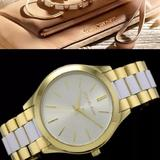 Michael Kors Accessories | New Women'S Michael Kors Slim Runway Mk4295 Watch | Color: Gold/White | Size: Os