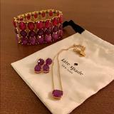 Kate Spade Jewelry | Earrings, Necklace, And Bracelet Set | Color: Gold/Purple | Size: Os