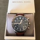 Michael Kors Accessories   Michael Kors Stainless Steal Leather Strap Watch   Color: Black/Tan   Size: Os