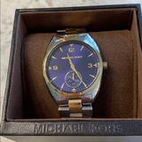 Michael Kors Accessories   Michael Kors Silver & Gold, Blue Face Watch.   Color: Gold/Silver   Size: Os