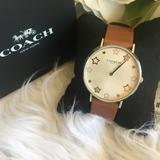 Coach Accessories | Coach Perry Star Dial Leather Strap Analog Watch | Color: Brown | Size: Os