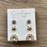 Jessica Simpson Jewelry | Jessica Simpson Earring Pack;Gold Stars And More! | Color: Gold/White | Size: Os
