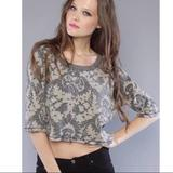 Free People Tops   Free People Crop Paisley Thermal Sweater, S   Color: Green/Tan   Size: S
