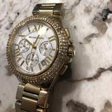 Michael Kors Accessories   Michael Kors Gold Diamond Watch Blinged Out!   Color: Gold/White   Size: Os