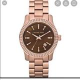 Michael Kors Accessories | Michael Kors Womens Rose Gold Large Face Watch | Color: Brown/Gold | Size: Os