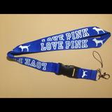 Pink Victoria's Secret Accessories | Love Pink Lanyard Keychain Id Holder Blue White | Color: Blue/White | Size: Os