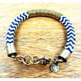 J. Crew Jewelry | J. Crew Check Pattern Accent Wire Wrap Bracelet | Color: Blue/White | Size: Wrist Circumference: 8 Around
