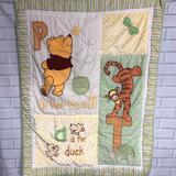 Disney Bedding   Disney Winnie The Pooh Baby Alphabet Quilt 35x44   Color: Green/Yellow   Size: Os