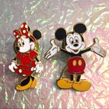 Disney Other | Mickey & Minnie Collectible Disney Enamel Pins | Color: Gold/Red | Size: Os