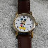 Disney Jewelry | Disney Mickey Mouse Watch With Leather Band Nwt | Color: Brown/Gold | Size: Os