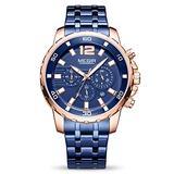 MEGIR Men's Quartz Business Watches Chronograph Military Luminous Big Face with Stainless Steel Strap (Blue)