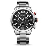 MEGIR Men's Quartz Business Watches Chronograph Military Luminous with Stainless Steel Strap (Black)