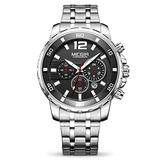 MEGIR Men's Quartz Business Watches Chronograph Military Luminous Big Face with Stainless Steel Strap (Black)