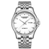 Guanqin Automatic Mechanical Watch,Day Date Automatic Watch Men,Self Wind Men's Luminous Waterproof Stainless Steel Watch (Silver White)