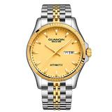 Guanqin Automatic Mechanical Watch,Day Date Automatic Watch Men,Self Wind Men's Luminous Waterproof Stainless Steel Watch (Gold Gold)