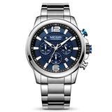 MEGIR Men's Quartz Business Watches Chronograph Military Luminous with Stainless Steel Strap (Blue)