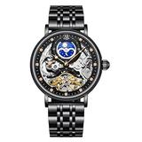 Gute Mens Skeleton Watches, Luxury Tourbillon Mens Watches, Mechanical Self Winding Watches for Men - Moon Phrase, Dual Time, Luminous Hands, Stainless Steel Automatic Watch Collection - Black