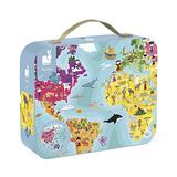 Janod 208-Piece Our Blue Planet 20 Inch Round Double Sided Jigsaw Puzzle – Mini Suitcase for Organized Storage –– Cognitive Development – Ages 7+