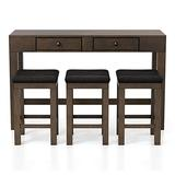 ioHOMES Biebel 4-Piece Counter Height Table Set, Wire-Brushed Dark Oak