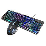 Backlit RGB Keyboard and Mouse Combo, Adjustable Breathing Lamp Wired Gaming Keyboard,Adjustable Breathing Lamp for PC Gamer (Wired)