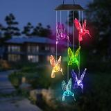 Outdoor Solar Lights - Solar LED Wind Chime Transparent Hummingbird Wind Chime Color Changing Waterproof Mobiles Garden Decorative Lights for Patio Balcony (White)