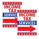 VIBE INK Large 18x24-inches Income Tax Return Services Directional Arrow Yard Sign with Included Metal Stake - Weatherproof (2)