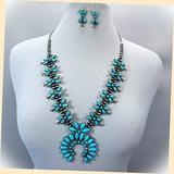 Boho Hematite Tone Beaded Stone Squash Blossom Pendant Necklace Statement Chunky Pendant Rhinestone Necklace for Women