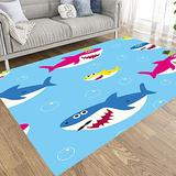Rectangle Area Rug,Fullentiart Non Skid Area Rugs Baby Shark Pattern Drawing Cute Kids Blue Background Contemporary Area Rugs Dorm Area Rug Modern Area Rug