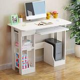 Huayishang Computer Desk with Storage Shelves/Keyboard Tray, Home Office Study Writing Desk, Modern Simple Style Table for PC Laptop Notebook (Style B-White)