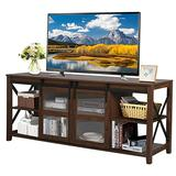 """LYNSLIM Farmhouse TV Stand with Barn Door - Wood Entertainment Center for TV's up to 65"""" Flat Screen Living Room Storage Cabinet, Open Adjustable Shelf & Glass Doors (Dark Walnut)"""