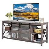 """LYNSLIM Farmhouse TV Stand with Barn Door - Wood Entertainment Center for TV's up to 65"""" Flat Screen Living Room Storage Cabinet, Open Adjustable Shelf & Glass Doors (Washed Grey)"""
