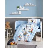 OZINCI Baby Boys Bedding Set, 100% Cotton Nursery Crib Set for Baby Boys, 6 Pieces Baby Comforter/Quilt Set, Comforter, Sheet, Pillowcases (Blue Penguin)