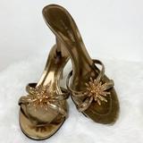 Nine West Shoes | Nine West Bronze Gold Mule Heels Shoes | Color: Brown/Gold | Size: 7