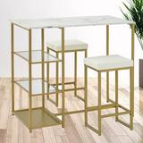 Mercer41 Dorothee 3 - Piece Counter Height Dining SetWood/Metal/Upholstered Chairs in Brown/White/Yellow, Size 36.2 H x 23.6 W x 41.3 D in | Wayfair