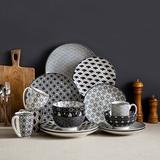 Dakota Fields Haruka Oriental 16 Piece Dinnerware Set for 4 Porcelain/Ceramic in Gray/Green/White | Wayfair 673D04411939429891EE22B14C85AB08