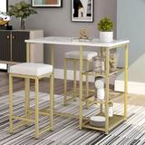 Mercer41 Kemal 3 - Piece Counter Height Dining SetWood/Metal/Upholstered Chairs in Brown/White/Yellow, Size 36.2 H x 23.6 W x 41.3 D in | Wayfair