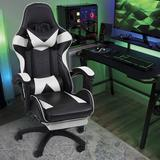 Inbox Zero Reclining Ergonomic Gaming Chair Faux Leather/Upholstered in White/Black, Size 49.2 H x 27.5 W x 19.0 D in | Wayfair