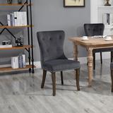 VR SUPPLIERS Tufted Velvet Upholstered Wingback Dining Chair in GrayWood/Upholstered/Velvet in Brown/Gray | Wayfair VR-SH000104AAE