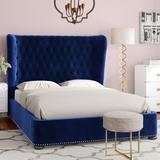Rosdorf Park Caravel Tufted Upholstered Low Profile Platform Bed Upholstered/Velvet in Blue, Size 69.1 W x 87.8 D in   Wayfair