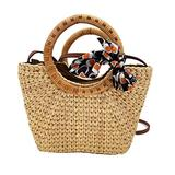 Hyacinth Beach Bags For Women - Hand Woven totes bags with bamboo and silk round handle -VILLAGE WONDERS