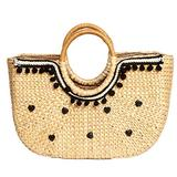 "Hyacinth Beach Bags For Women - Hand Woven totes bags with Bamboo round handle and half-moon""black dots"" - VILLAGE WONDERS"