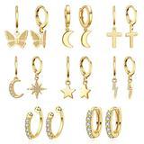 8 Pairs Dangle Hoop Earrings 14K Gold Plated, Small Earrings Pack Set, Dainty Huggie Earrings For Women, Ear Cuff for Girl (Hypoallergenic)