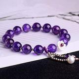 NaiiaN Feng Shui Wealth Bracelet Amethyst Crystal Bracelet Healing Pearl Ornament Chakra Beads Lucky Charms Attract Good Luck Money Lucky Bracelets Jewel Gift for Women/Girls