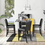 Red Barrel Studio® Gavina 5 Piece Counter Height Dining Set Wood/Upholstered Chairs in Black/Brown, Size 36.0 H x 35.0 W x 35.0 D in   Wayfair