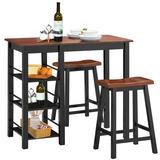 Costway 3 Piece Counter Height Dining Table Set with 2 Saddle Stools and Storage Shelves