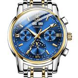 OLEVS Mechanical Mens Watches, Blue Dial Swiss Automatic Watches for Men Luxury Two Tone Stainless Steel Mens Self Winding Wrist Watch Day Date Luminous Pointer Moon Phase Watches