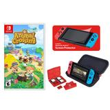 Animal Crossing: New Horizons + Deluxe Travel Case for Nintendo Switch Game & Case Bundle, Multicolor